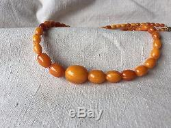 Genuine Antique Natural Baltic Amber Beads Necklace Pendant 22.6g 22.4'' 57cm