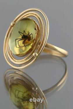 Genuine BALTIC AMBER 14K GOLD Fossil Inclusion SPIDER 7.25 Ring 2.2g 200819-1