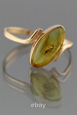 Genuine BALTIC AMBER 14K GOLD Great Fossil Insect WASP 6 Ring 1g 191128-9
