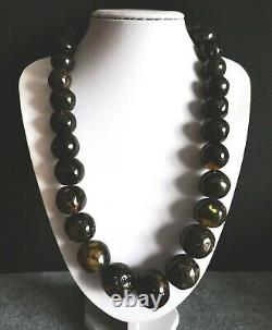 Genuine BALTIC AMBER Black Round Huge Shape 27 -16 mm Beads Necklace