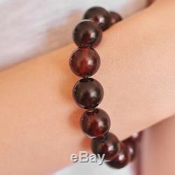 Genuine Baltic Amber Bracelet Unique Dark Cognac Cherry Beaded Balls Luxury