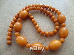 Genuine Baltic Amber Old necklace beads Butter Egg Yolk natural vintage 32 g