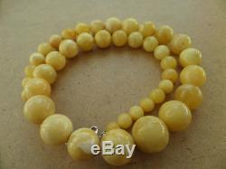 Genuine Baltic Amber modified Old necklace beads Rare Round natural 114 g