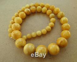 Genuine Baltic Amber modified Old necklace beads Rare Round natural 140 g