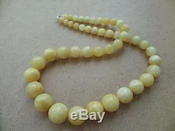 Genuine Baltic Amber modified Old necklace beads Rare Round natural white 146 g