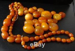 Genuine Baltic BUTTERSCOTCH EGG YOLK AMBER Necklace + Loose Beads 50 grams