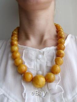 Genuine Egg Yolk Natural Baltic Amber Beads Necklace, 102 gr