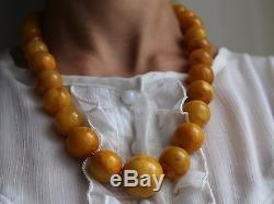 Genuine Egg Yolk Natural Baltic Beads Amber Necklace, 102 gr