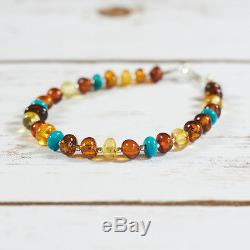 Genuine Natural Baltic Amber Bracelet Turquoise Silver Brown Cognac Yellow Beads