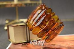 Genuine Natural Baltic Amber Bracelet Yellow Color Elegant Massive Big Polished