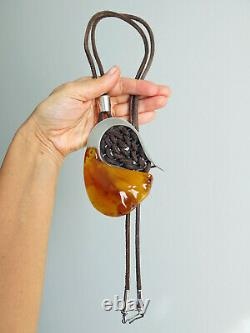 Genuine Natural Baltic Amber & Sterling Silver 925 Huge Pendant Long Necklace