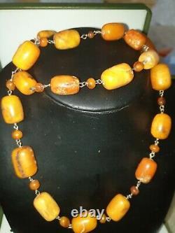 Genuine Vintage Natural Antique Baltic Yolk Butterscotch Amber Necklace 66 grmes