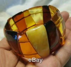 Genuine multicolor baltic amber beaded cuff bracelet 7 35.3g