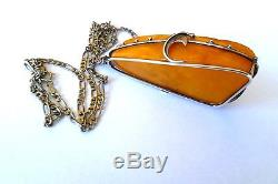 HIGH QUALITY NATURAL BALTIC AMBER & 800 SILVER PENDANT with 925 STERLING CHAIN