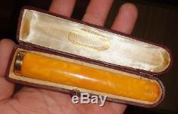 HUGE Antique Natural Baltic Eggyolk Butterscotch Amber Cigar Holder Gold 18K
