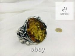 HandMade UNIQUE Baltic Amber Sterling Silver 925 Bracelet with Amber POLAND