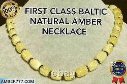 High Class Baltic Natural Marble White Color Barrel Beads Amber Necklace 21 G