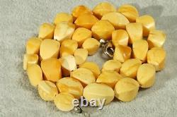 High Class Yellow White Color Natural Antique Baltic Amber Necklace 21 Grams