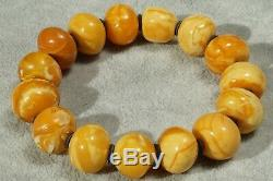High class Antique Baltic marble yellow, white natural amber bracelet 35 grams
