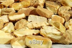 High class Antique natural Baltic marble white color amber stones 314 grams