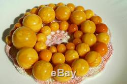 High class antique natural Baltic amber necklace 142 grams. Yellow, white color