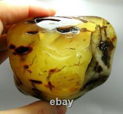 Huge 258.60 grams polished Yellow White Natural Genuine BALTIC AMBER raw stone