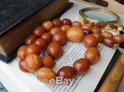 Huge Antique Natural Baltic Amber Butterscotch Egg Yolk Old Beads Necklace 101gr