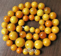 Huge Antique Natural Butterscotch Egg Yolk Baltic Amber Beads Necklace 160g