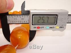 Huge Antique Old Olive Egg Yolk Butterscotch Natural Baltic Amber Necklace 79 Gr