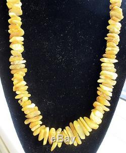 Huge Antique Old Vintage Gorgeous Yellow Natural Baltic Amber Necklace 104,0 Gr