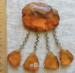Huge Antique Vintage Natural Honey Baltic Amber Brooch 33,20 Gr