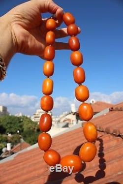 Huge LUXURIOUS NATURAL Milky EGG YOLK BALTIC AMBER BEADS NECKLACE 160g