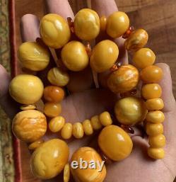 Huge Natural Baltic Egg Yolk Butterscotch Amber Round Beaded Necklace 104 Gr