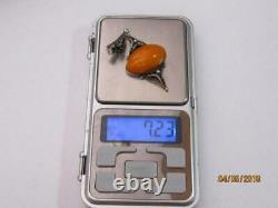 Huge Vintage Soviet Natural Baltic Amber Pendant Filigree Sterling Silver 875