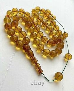 Inclusion Insect 92g. Natural Baltic Amber 14.5 mm. Big Islamic Prayer Rosary