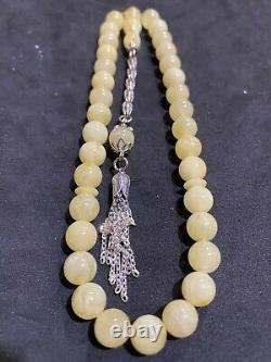 Islamic 33 Prayer Beads NATURAL BALTIC AMBER Rosary Tasbih Misbaha One Stone