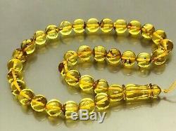 Islamic 33 Prayer Beads Natural Baltic Amber Tasbih Rosary Misbaha 30g 10526