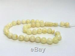 Islamic 33 Prayer Beads Natural Baltic Amber Yellow White Misbaha 15,6gr #4577