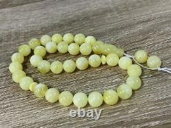 Islamic 33 Prayer Beads White Yellow Natural Baltic Amber Tasbih Misbaha21g 8001