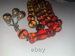 Islamic Muslim 33 Prayer Beads Natural Baltic Amber Rosary Tasbih Misbaha 3.5 oz