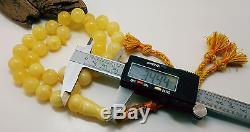 Islamic Prayer Natural Baltic Amber 62,5g Big Bead White Butterscotch Rare B-048