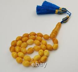 Islamic Prayer Tasbih Amber Natural Baltic Vintage Bead 36,1g Old Rare Sea E-284
