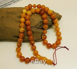 Islamic Prayer Tasbih Beads Natural Baltic Amber Stone 23,0g Old Vintage E-123