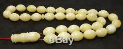 Islamic Prayer Tasbih PRESSED Amber Baltic 33 Beads 43,9g Vintage White H-004