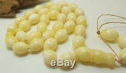 Islamic Prayer Tasbih PRESSED Amber Natural Baltic 42,1g 33 Bead White H-077