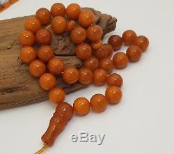 Islamic Prayer Tasbih Stone Amber Natural Baltic 33 Vintage 26,1g Bead Old H-064