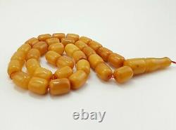 Islamic Prayer Tasbih Stone Amber Natural Baltic Bead 37,8g White Vintage S-652