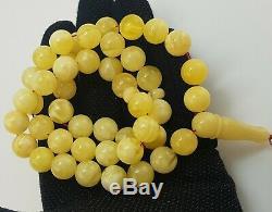 Islamic Prayer Tasbih Stone Amber Natural Baltic Bead 60,8g Vintage Old F-880