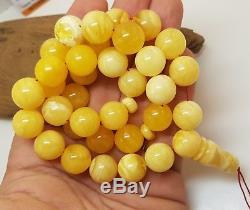 Islamic Prayer Tasbih Stone Amber Natural Baltic Genuine 57,1g Bead White D-203
