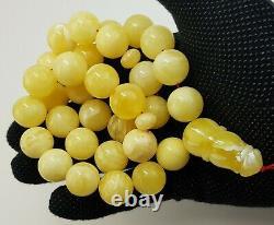 Islamic Prayer Tasbih Stone Amber Natural Baltic Vintage Bead 114,8g Old S-395